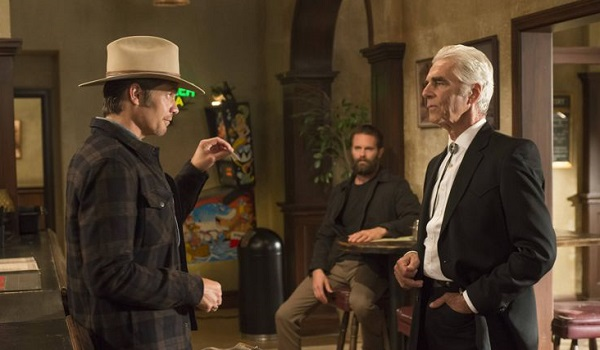 "JUSTIFIED -- ""Alive Day"" -- Episode 606 (Airs Tuesday, February 24, 10:00 pm e/p) -- Pictured: (L-R) Timothy Olyphant as Deputy U.S. Marshal Raylan Givens, Garret Dillahunt as Ty Walker, Sam Elliott as Avery Markham -- CR: Prashant Gupta/FX"